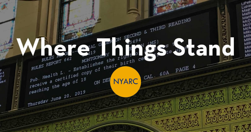 Words in white of Where Things Stand with NYARC logo set over the voting results of Senate File 3419 in the New York State Assembly